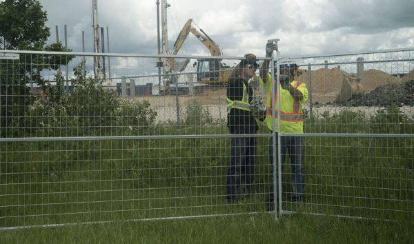8ft temporary fence panels on jobsite