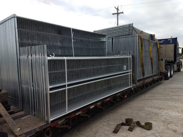 Truckload of Anticlimb Temporary Fence Panels and Anticlimb Extension Panels
