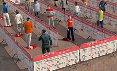 Barricade Fence Panels with customr barricade covers - COVID 19 line up system